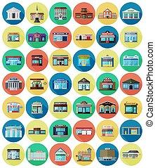 ville, bâtiments, ensemble, magasins, plat
