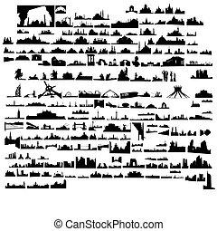 ville, bâtiments, ensemble, monuments
