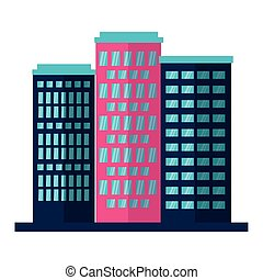 ville, bâtiments, fond blanc, urbain