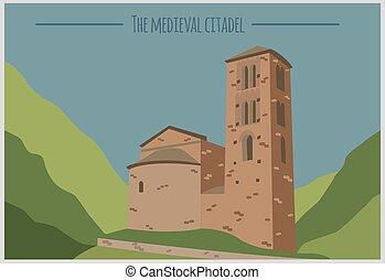 ville, bâtiments, graphique, la, andorre, vella, template.