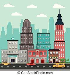 ville, bâtiments, hôpital, commercial, rue, véhicule