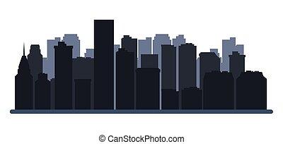 ville bâtiments, horizon, scène, urbain