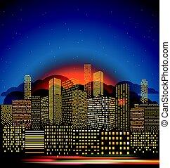 ville, bâtiments, illustration., moderne, matin, vecteur, perspective, cityscape