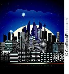ville, bâtiments, illustration., moderne, vecteur, perspective, cityscape, night.