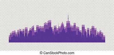 ville, bâtiments, illustration, silhouettes, vecteur, couleurs