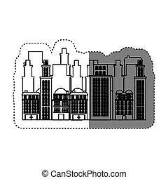 ville, bâtiments, image, icône