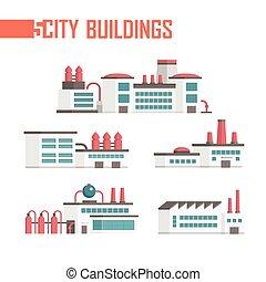 ville, bâtiments, industriel, ensemble, icônes, -, illustration, vecteur, cinq
