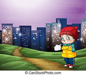 ville, bâtiments, jeune enfant, grand, travers