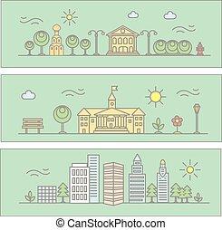 ville, bâtiments, linéaire, -, style, illustration, vecteur, arbres