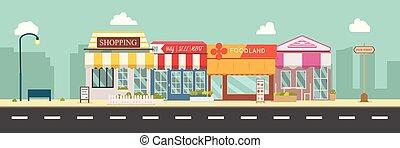 ville, bâtiments, magasin, rue, illustration, design.business, street.urban, style, plat, scène, vecteur, storefront, urban.public, principal, midi