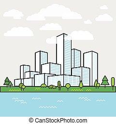 ville, bâtiments, moderne, district., perspective., minimalisme, illus