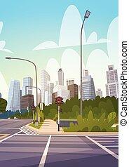 ville, bâtiments, moderne, en ville, rue, gratte-ciel, cityscape, route, vide, vue