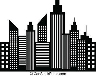 ville, bâtiments, moderne, gratte-ciel