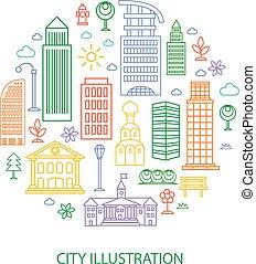 ville, bâtiments, nuages, linéaire, illustration, vecteur, style