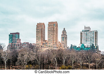 ville, bâtiments, parc central, york, nouveau, manhattan