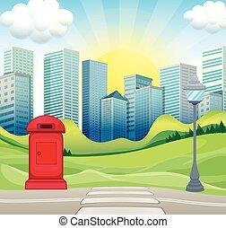 ville, bâtiments, parc, scène, bureau