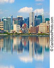 ville, bâtiments, reflet, usa, en ville, york, nouveau