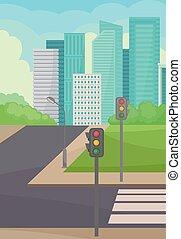 ville, bâtiments, rue, route, haut-ascension, plat, arrière-plan., vecteur, feux circulation, conception, passage clouté, paysage., urbain