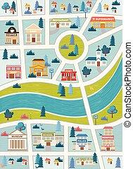 ville, bâtiments, rues, map., coloré