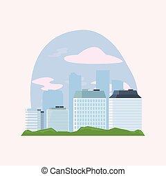 ville, bâtiments, scène, gratte-ciel, urbain