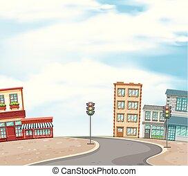 ville, bâtiments, scène, route, fond, vide