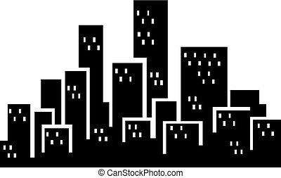 ville, bâtiments, silhouette