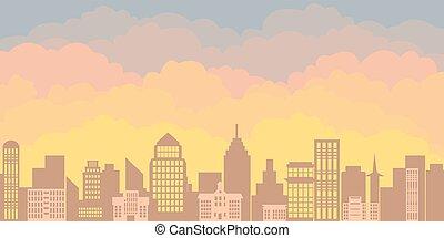 ville, bâtiments, silhouette, gratte-ciel, bureau, plat, panorama, contre, matin, grand, paysage, levers de soleil, city., style., toile de fond