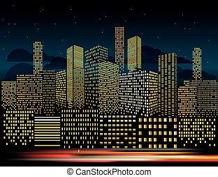 ville, bâtiments, soir, illustration., moderne, vecteur, perspective, cityscape