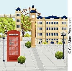 ville, bâtiments, téléphone, attractions, façades, arrière-plan., londres, cabine, vector., rouges, architecture