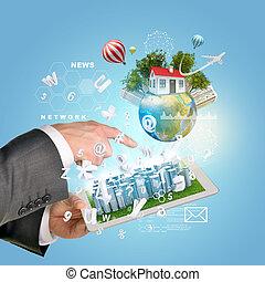 ville, bâtiments, tablette, business, screen., informatique, pc., mains, toucher, utilisation, la terre, homme