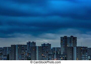 ville, bâtiments, transition, timelapse, nuit, jour