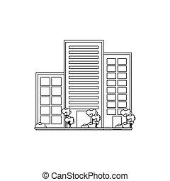 ville, bâtiments, urbain