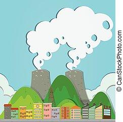 ville, bâtiments, usine, vue