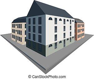 ville, bâtiments, vieux, perspective, bloc