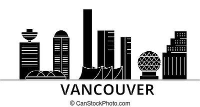 ville, bâtiments, voyage, vues, isolé, repères, vecteur, vancouver, architecture, fond, cityscape, horizon