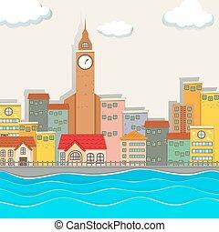 ville, bâtiments, vue, tour, horloge