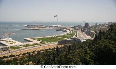 ville, baku, grand, défaillance, azerbaijan., panoramique, sea., au-dessus, temps, vue