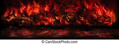 ville, bannière, aflame, moyen-âge