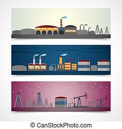 ville, bannières, industriel, ensemble