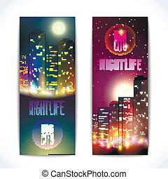 ville, bannières, vertical, nuit