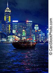 ville, bateau, nuit