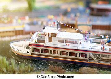 ville, bateau, pier., miniature.