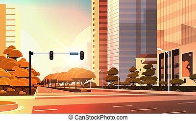 ville, beautifil, asphalte, plat, lumière, moderne, élevé, rue, closeup, gratte-ciel, fond, cityscape, trafic, horizontal, coucher soleil, route