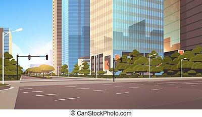 ville, beautifil, gratte-ciel, asphalte, plat, lumière, moderne, élevé, rue, trafic, fond, cityscape, closeup, horizontal, route