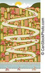 ville, bicycles, équitation, coloré, gens