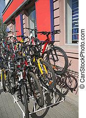 ville, bicycles, rue, vente