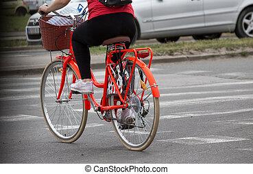 ville, bicyclette voyageant, femme