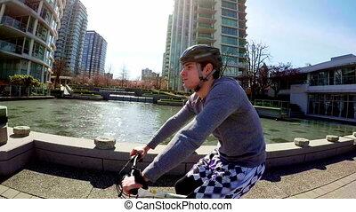 ville, bicyclette voyageant, homme, 4k