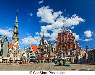 ville, blackheads, peter, carrée, maison, rue., riga, lettonie, église, riga, salle
