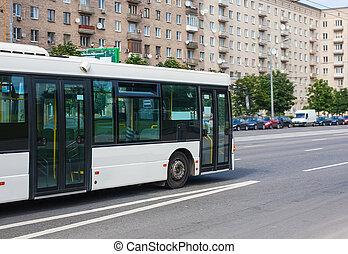 ville, blanc, autobus